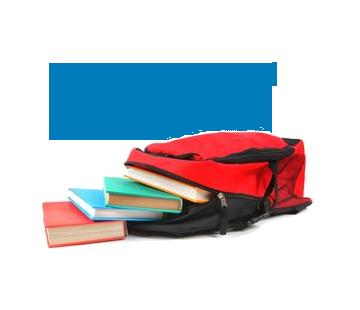 Foto de mochila e livros